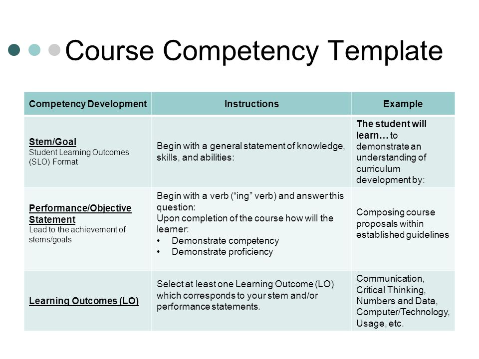 competency statement vi
