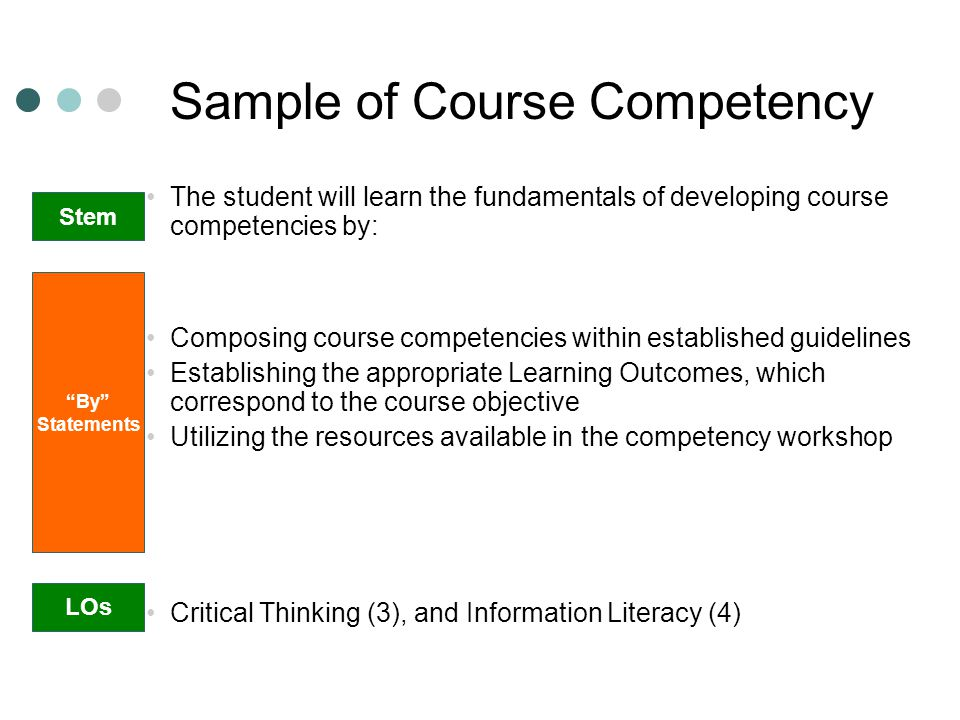 Sample of Course Competency
