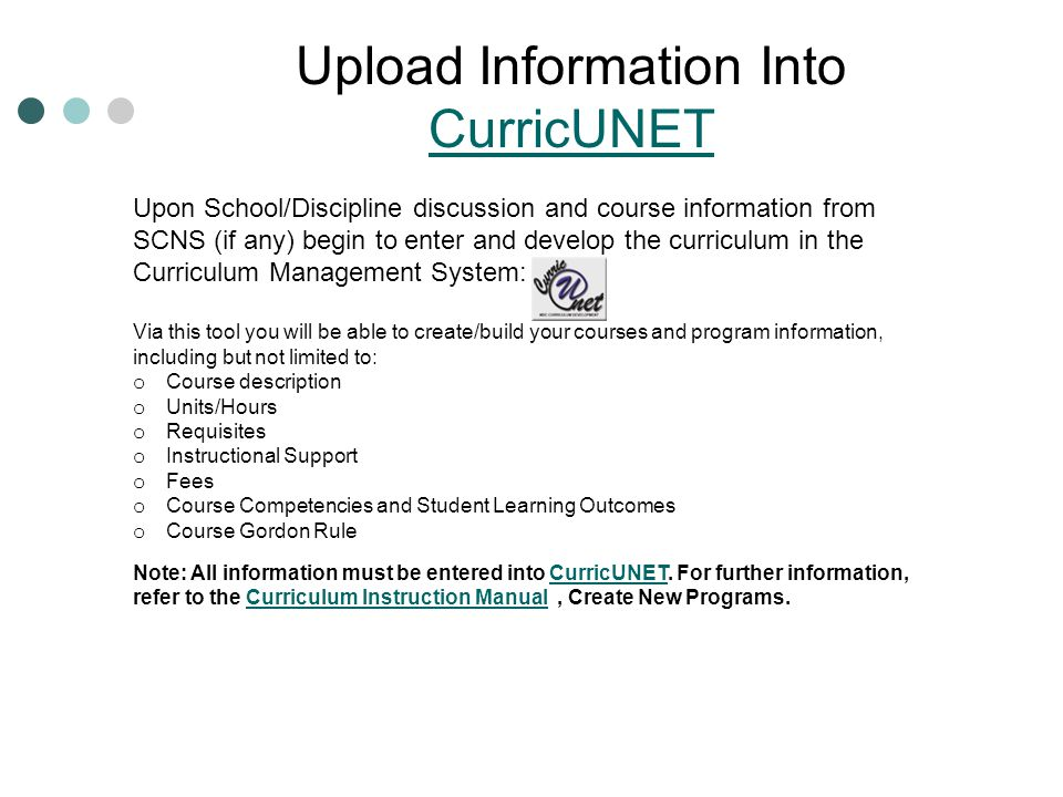 Upload Information Into CurricUNET