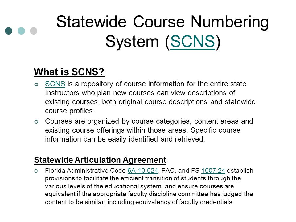 Statewide Course Numbering System (SCNS)