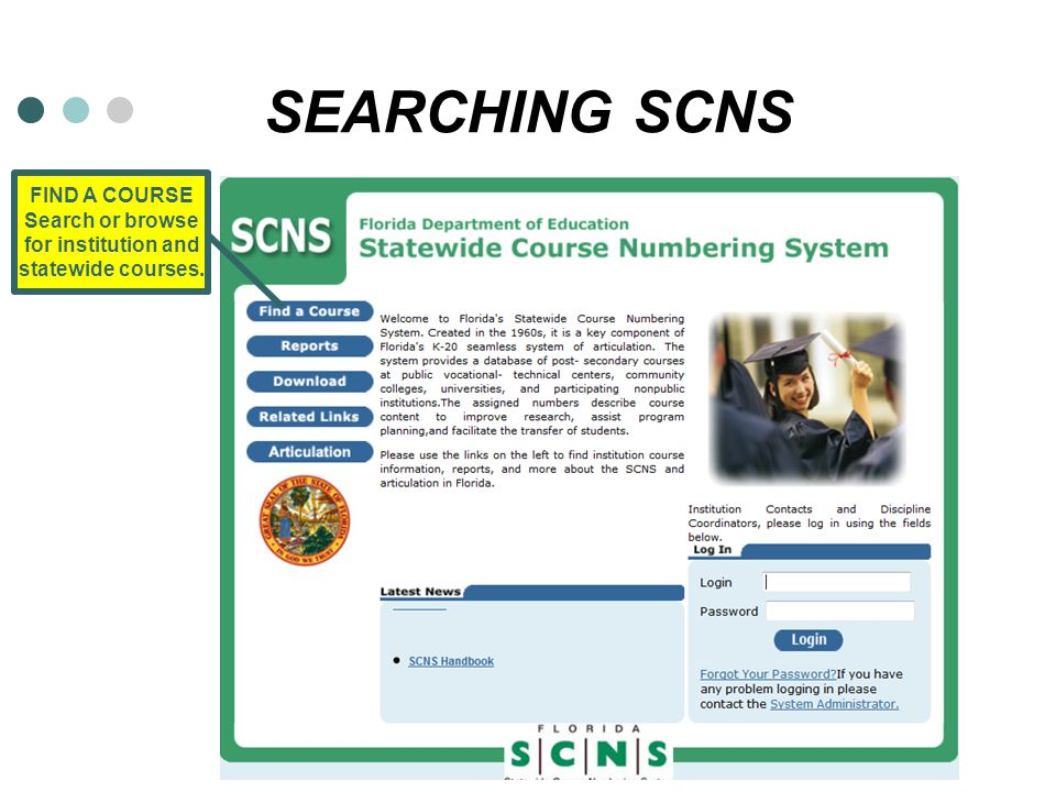 SEARCHING SCNS FIND A COURSE Search or browse for institution and