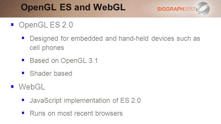 OpenGL ES and WebGL OpenGL ES 2.0 WebGL