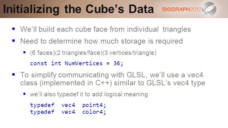Initializing the Cube's Data