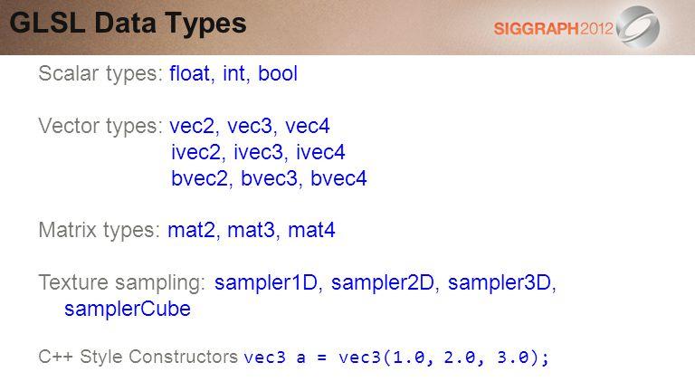 GLSL Data Types Scalar types: float, int, bool