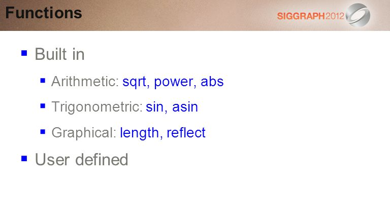 Built in User defined Functions Arithmetic: sqrt, power, abs