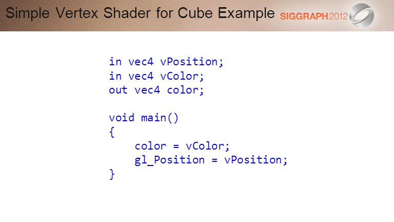 Simple Vertex Shader for Cube Example