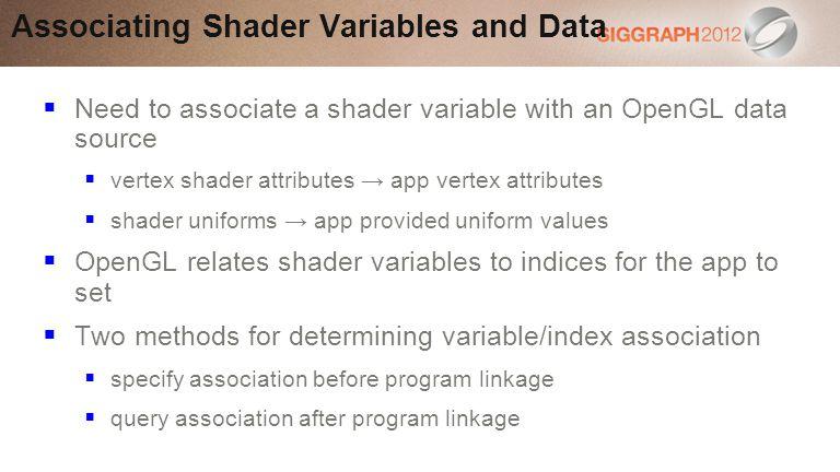 Associating Shader Variables and Data