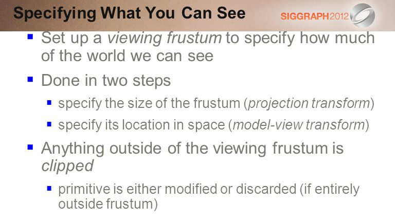 Specifying What You Can See