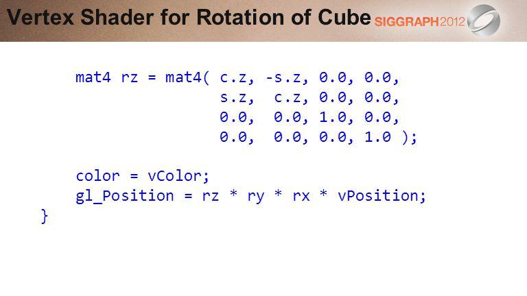 Vertex Shader for Rotation of Cube