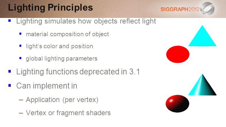 Lighting Principles Lighting functions deprecated in 3.1