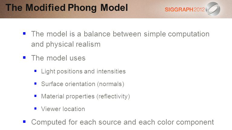 The Modified Phong Model