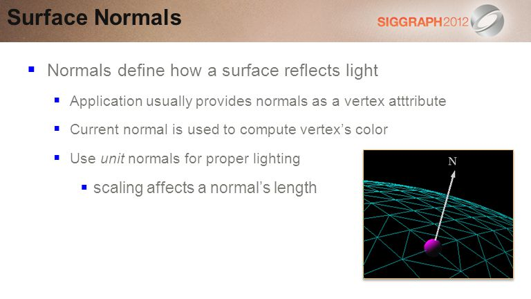 Surface Normals Normals define how a surface reflects light