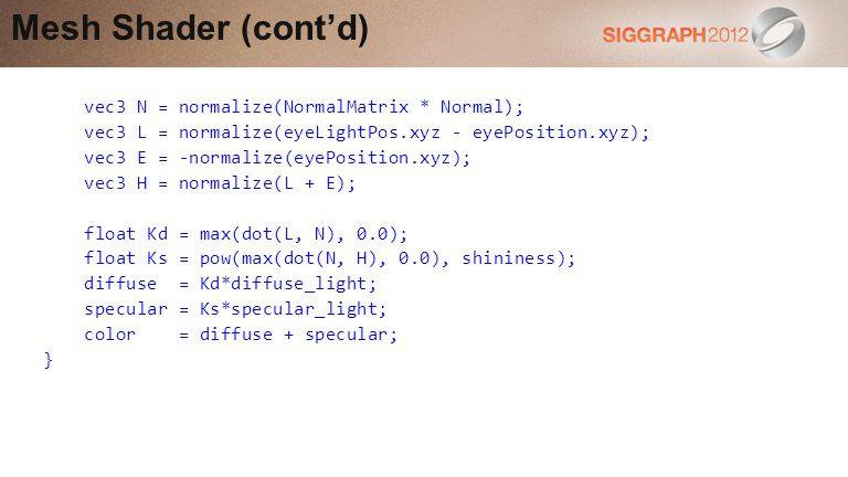 Mesh Shader (cont'd) vec3 N = normalize(NormalMatrix * Normal);