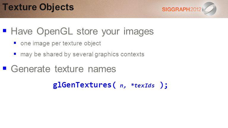 glGenTextures( n, *texIds );