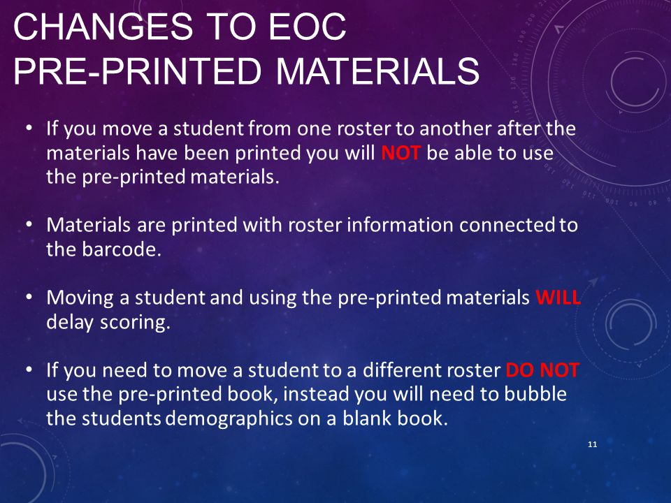 Changes to EOC Pre-Printed Materials