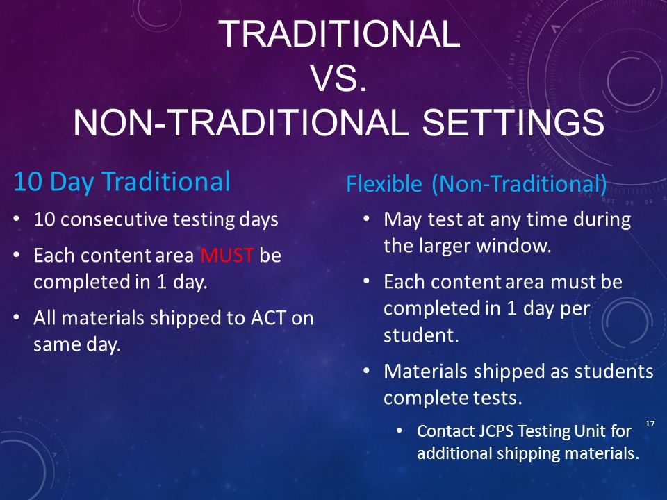 Traditional vs. Non-Traditional Settings