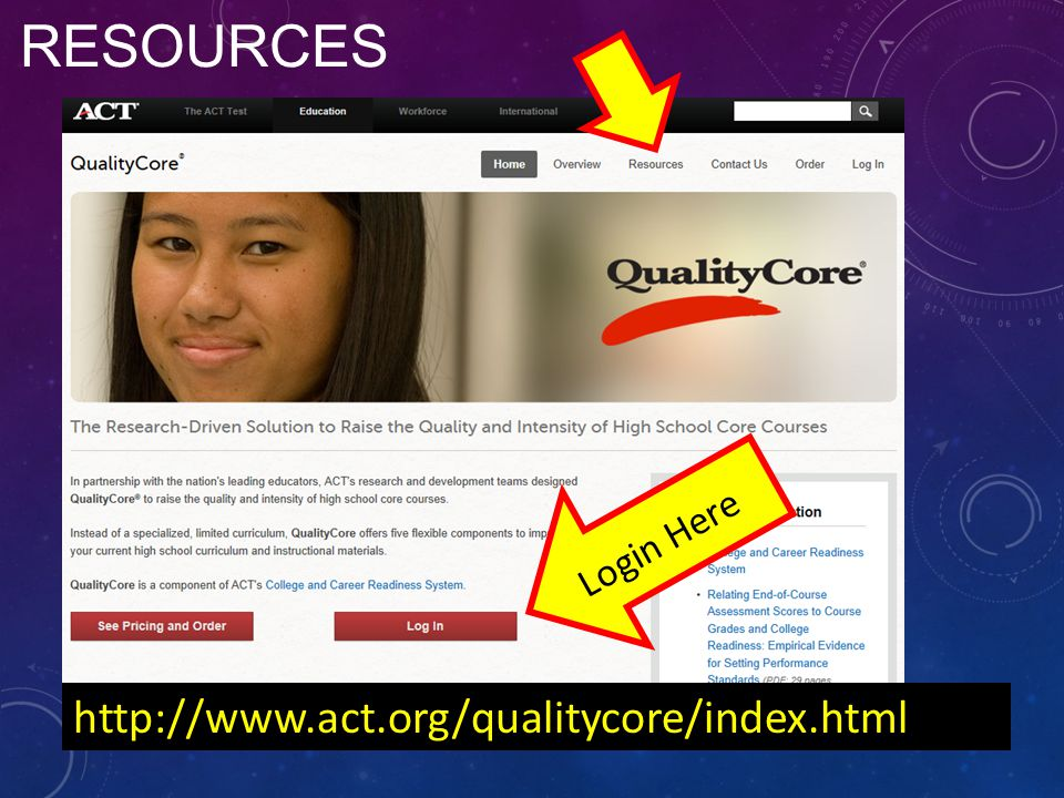 Resources Login Here http://www.act.org/qualitycore/index.html