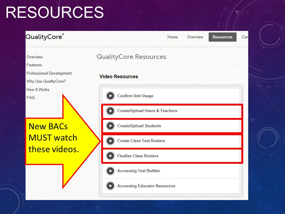 Resources New BACs MUST watch these videos.