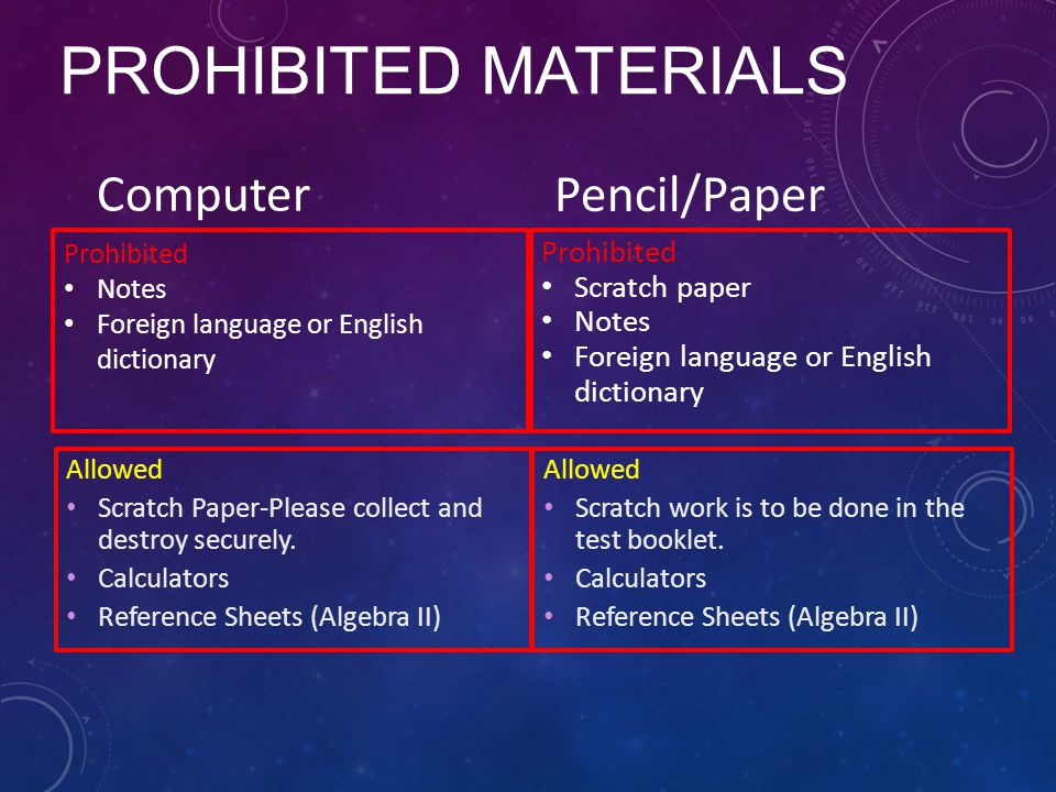 Prohibited Materials Computer Pencil/Paper Prohibited Scratch paper