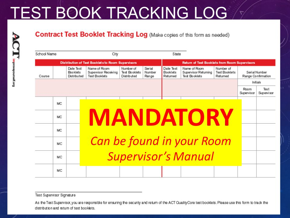 Can be found in your Room Supervisor's Manual