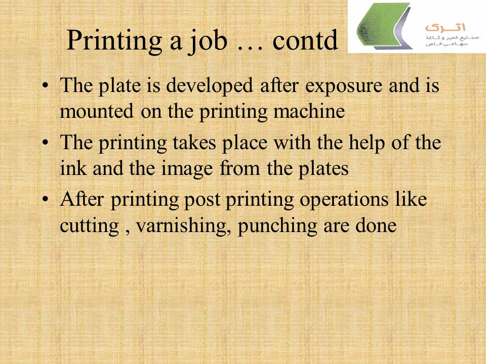 Printing a job … contd The plate is developed after exposure and is mounted on the printing machine.