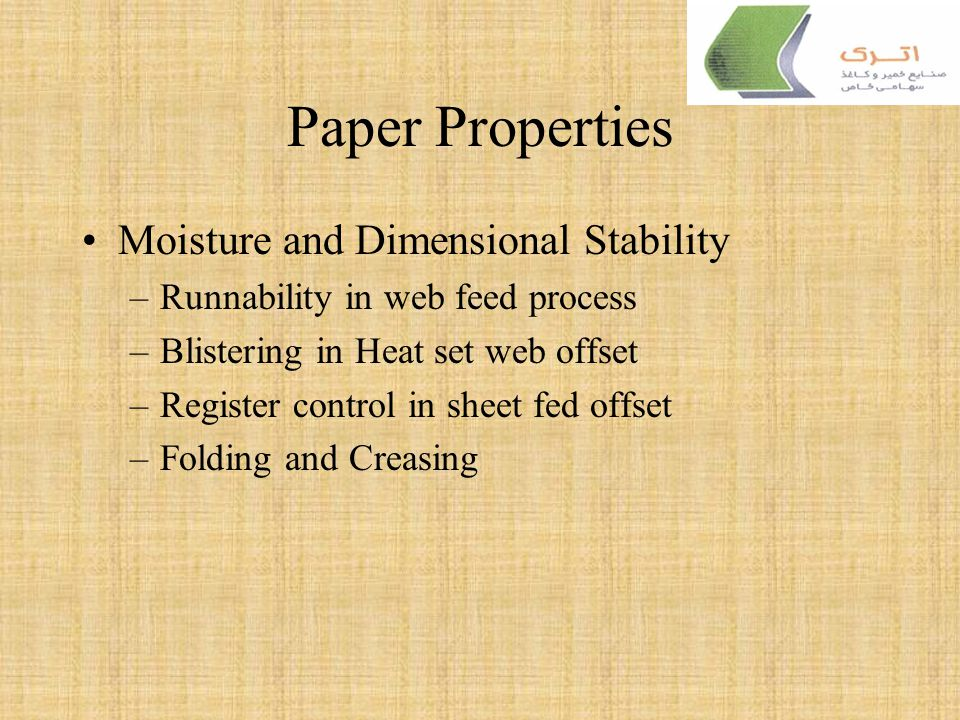 Paper Properties Moisture and Dimensional Stability