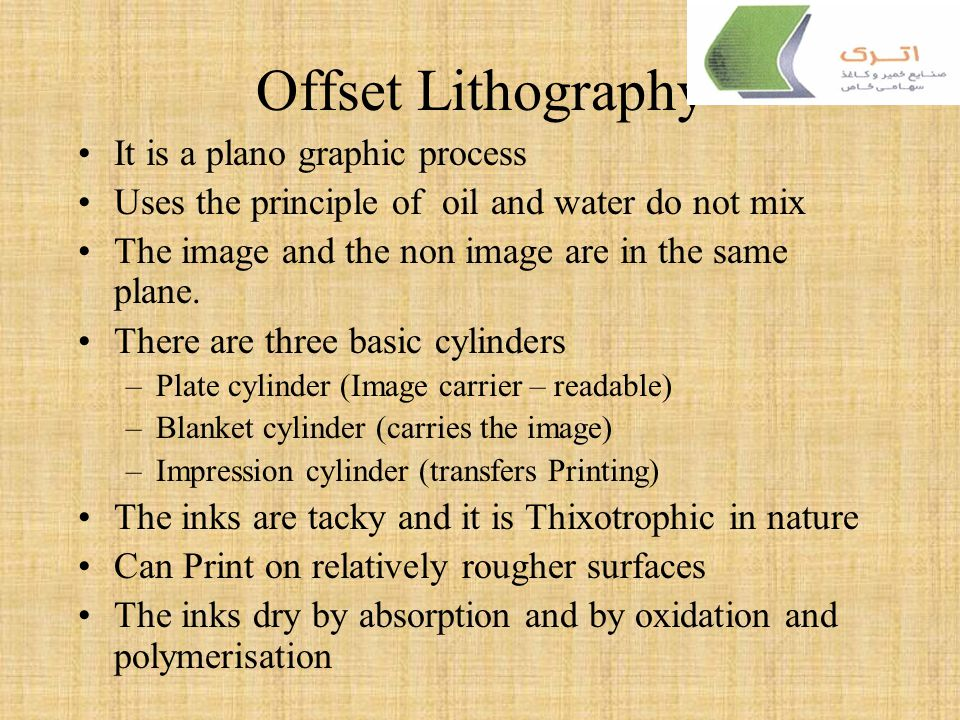 Offset Lithography It is a plano graphic process