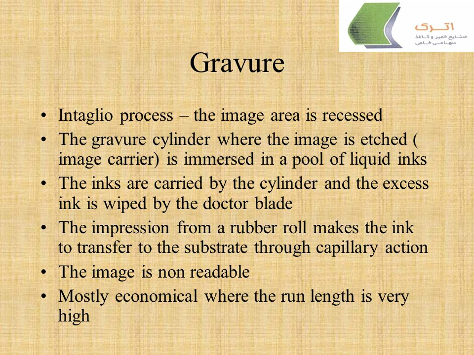 Gravure Intaglio process – the image area is recessed