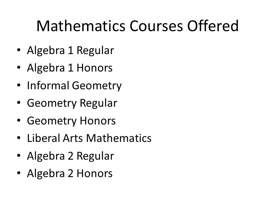 Mathematics Courses Offered