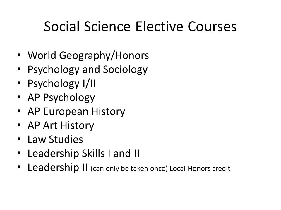 Social Science Elective Courses