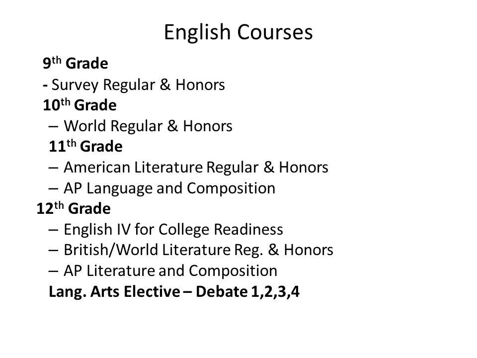 English Courses 9th Grade - Survey Regular & Honors 10th Grade