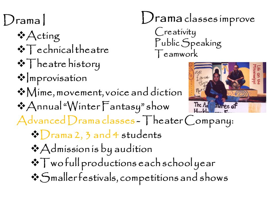 Drama classes improve Drama I Acting Technical theatre Theatre history