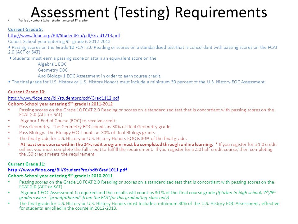 Assessment (Testing) Requirements
