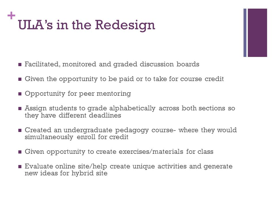 ULA's in the Redesign Facilitated, monitored and graded discussion boards. Given the opportunity to be paid or to take for course credit.