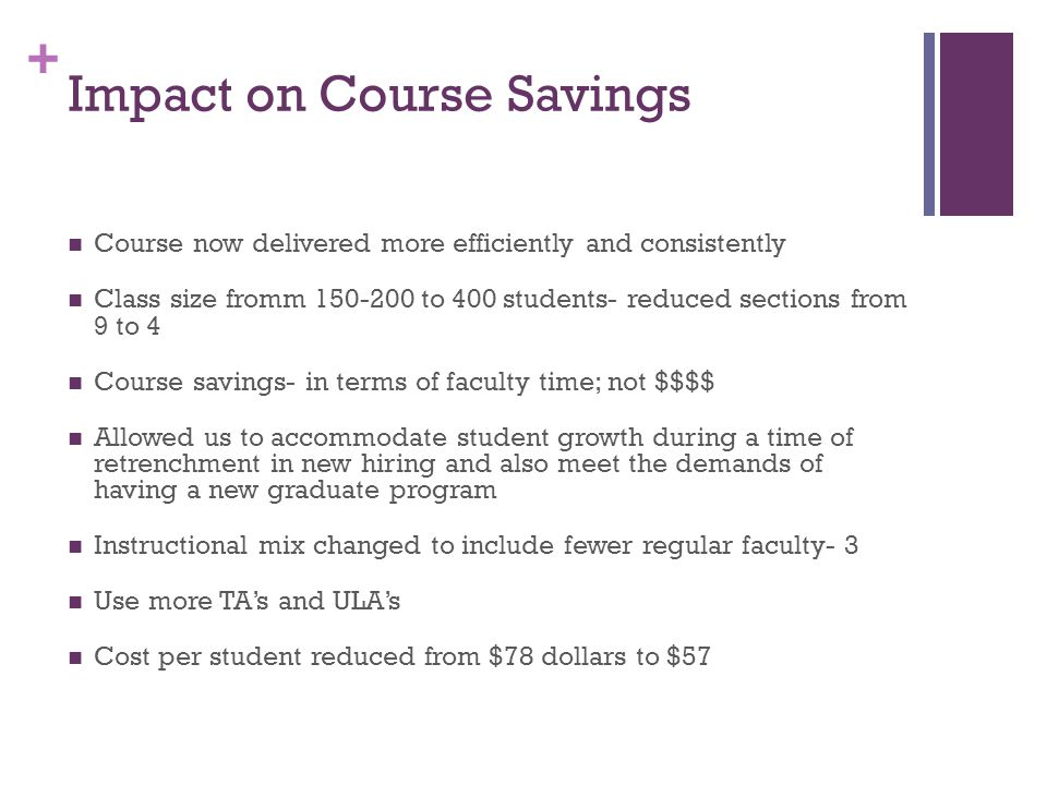 Impact on Course Savings