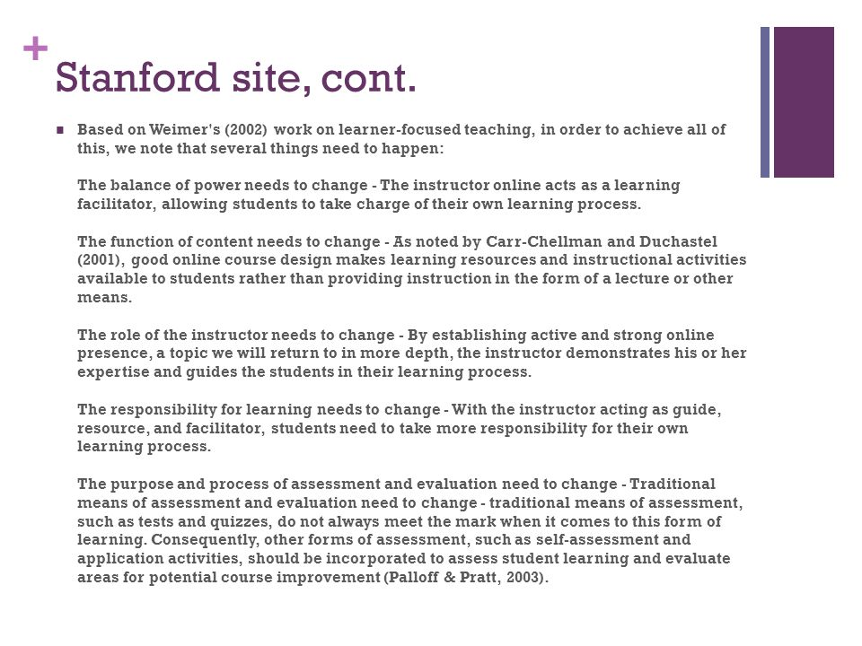 Stanford site, cont.