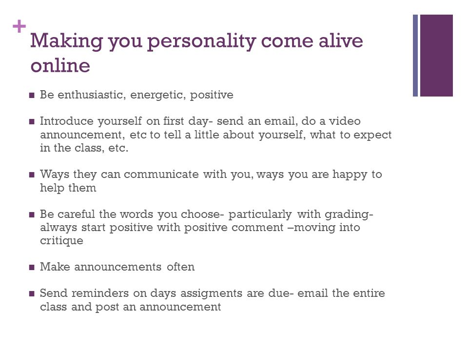 Making you personality come alive online