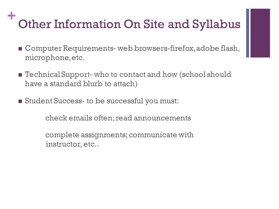 Other Information On Site and Syllabus
