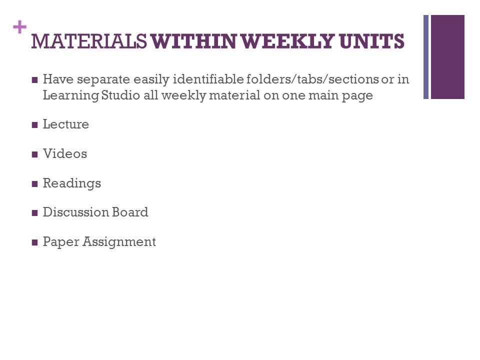 MATERIALS WITHIN WEEKLY UNITS