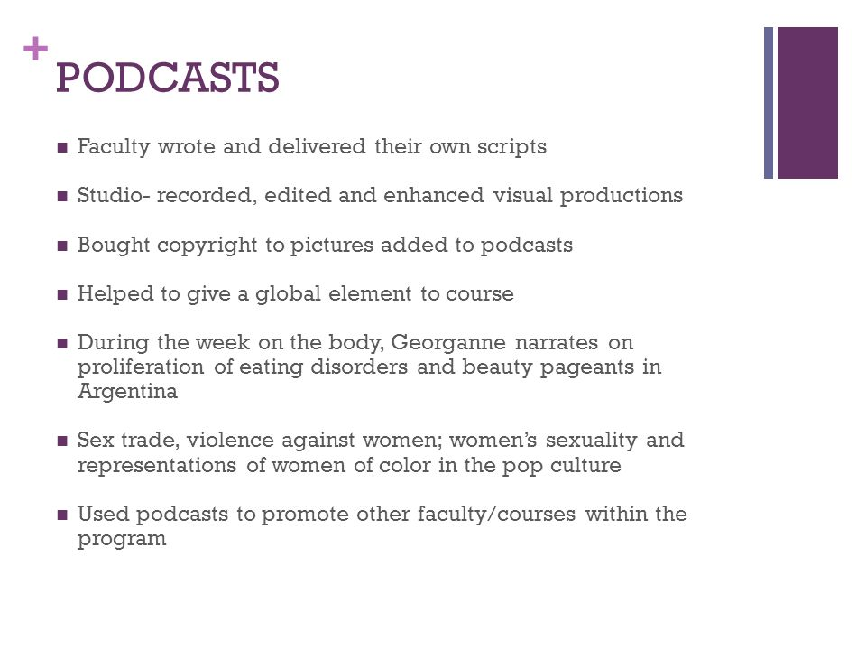 PODCASTS Faculty wrote and delivered their own scripts