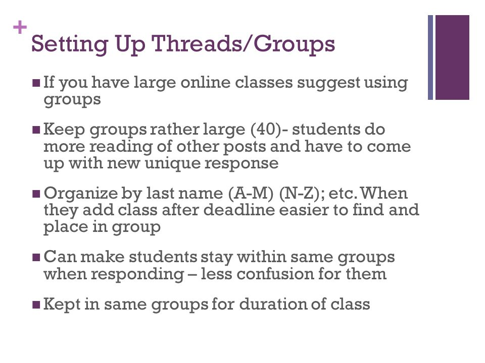 Setting Up Threads/Groups