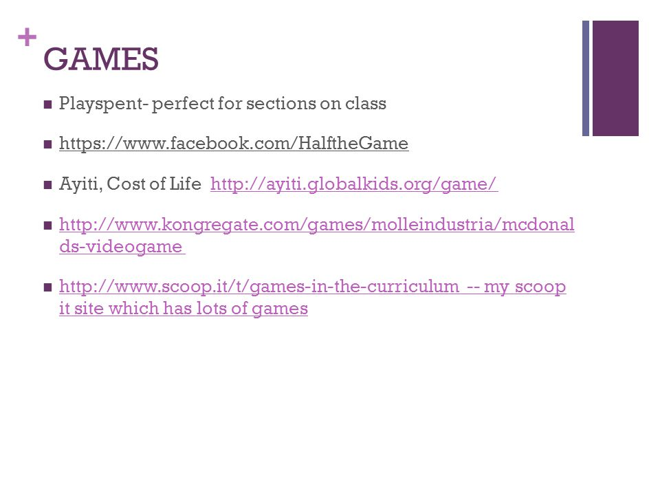 GAMES Playspent- perfect for sections on class