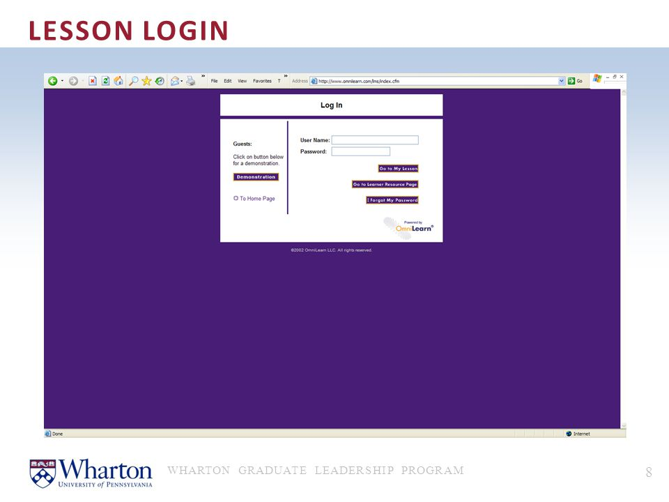 Lesson Login WHARTON GRADUATE LEADERSHIP PROGRAM