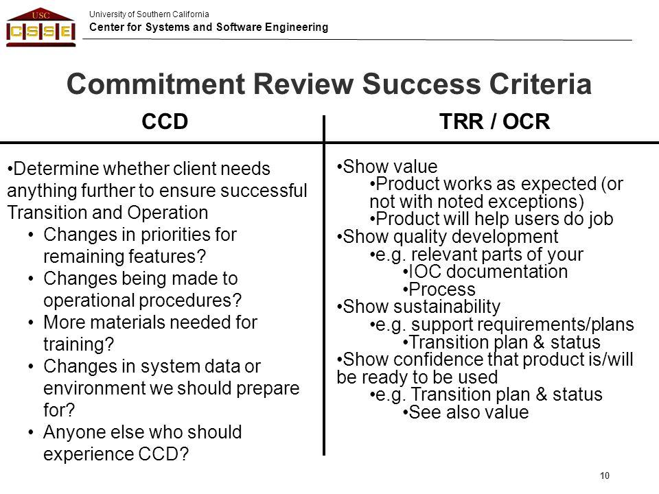 Commitment Review Success Criteria