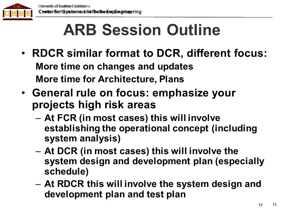 ARB Session Outline RDCR similar format to DCR, different focus: