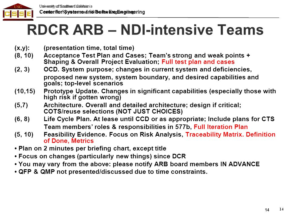 RDCR ARB – NDI-intensive Teams