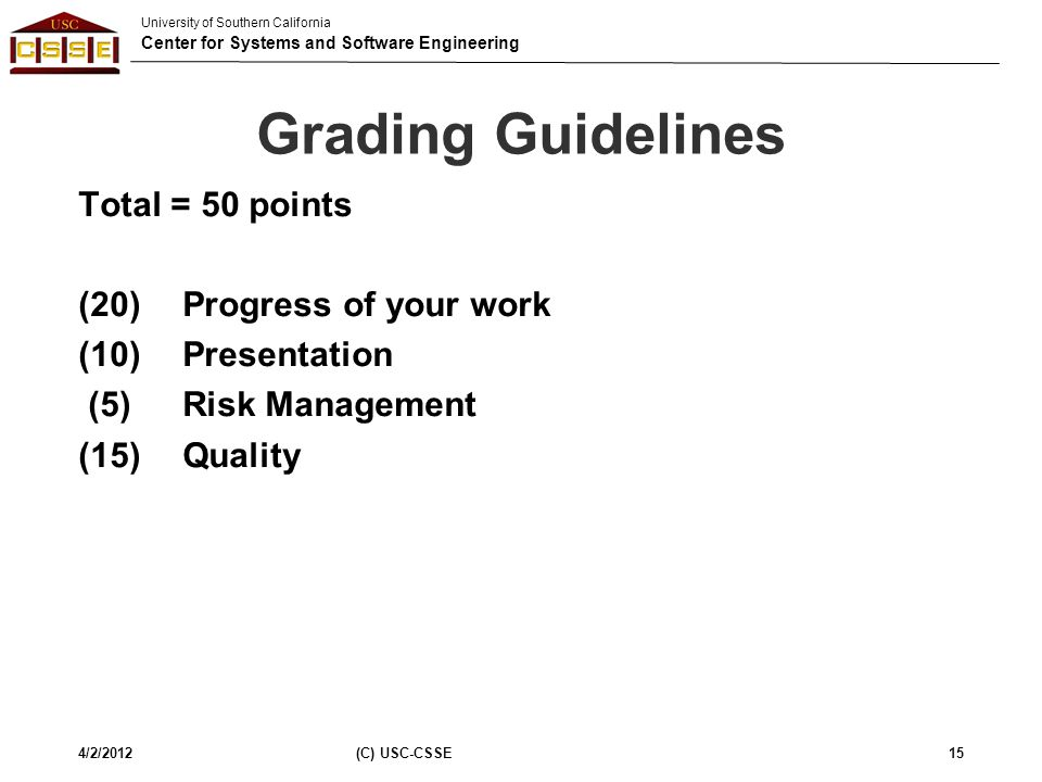 Grading Guidelines Total = 50 points (20) Progress of your work