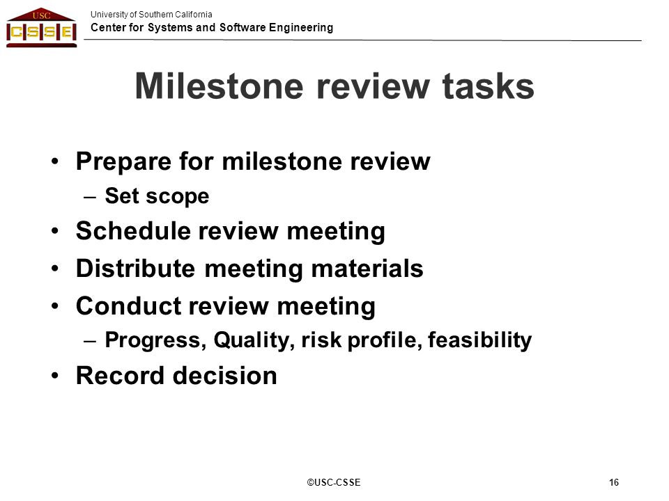 Milestone review tasks