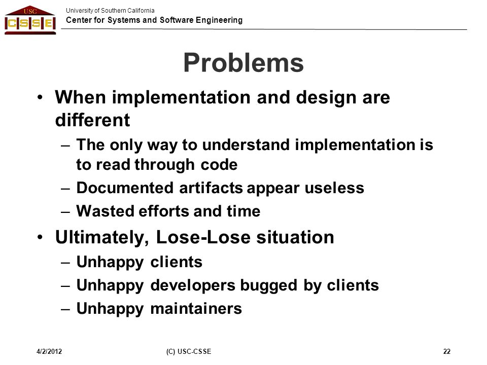 Problems When implementation and design are different