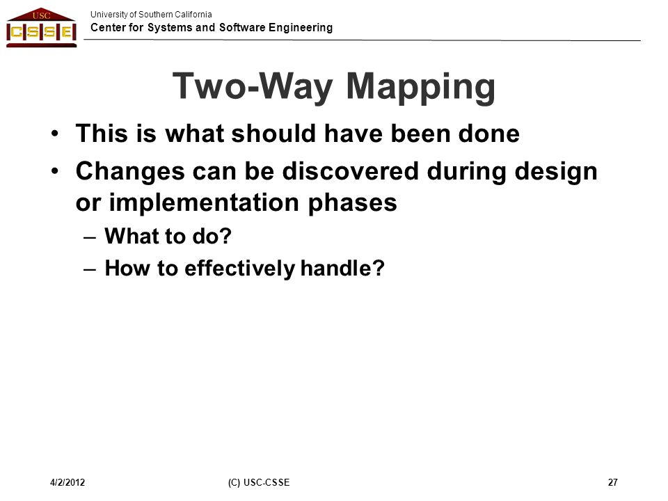 Two-Way Mapping This is what should have been done